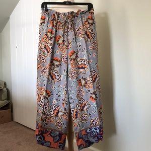 Loft Plus - Ruffled tie waist wide leg pants
